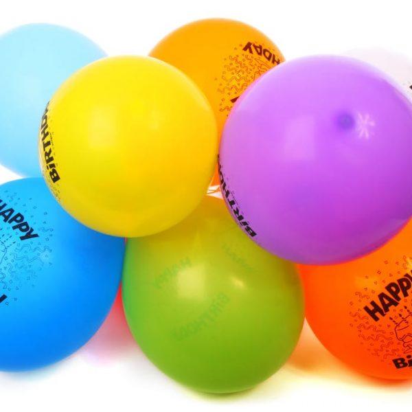 balloons with happy birthday prints