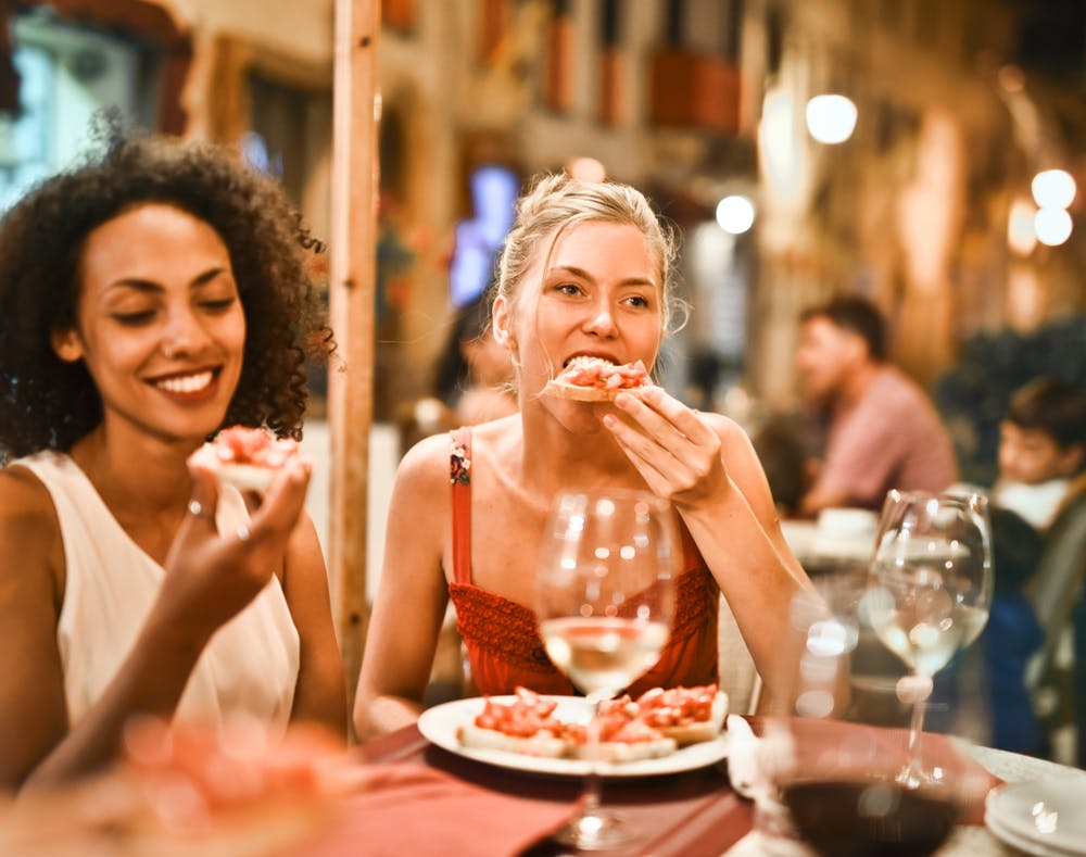 Two woman eating in a Leichhardt Italian restaurant